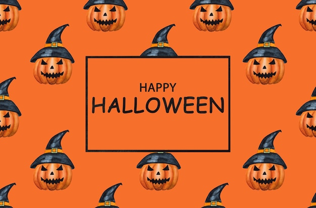 Felice halloween. bellissimo disegno ad acquerello di una zucca malvagia