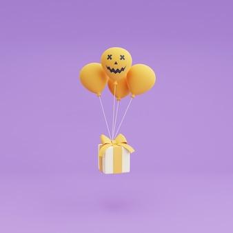 Felice halloween concetto ,ballon di halloween e confezione regalo su sfondo viola.3d rendering.