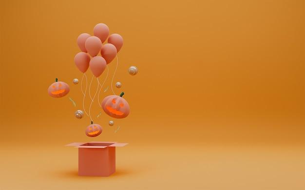 Scatola aperta di concetto felice di halloween con il fantasma della zucca e palloncini su fondo arancio.