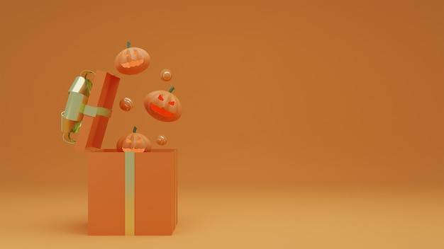 Happy halloween, confezione regalo aperta di concetto e fantasma di zucca con sfondo arancione.