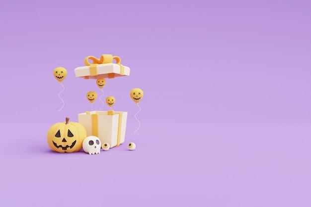 Concetto di halloween felice, confezione regalo 3d aperta con palloncini e caratteri di zucca su sfondo viola. rendering 3d.