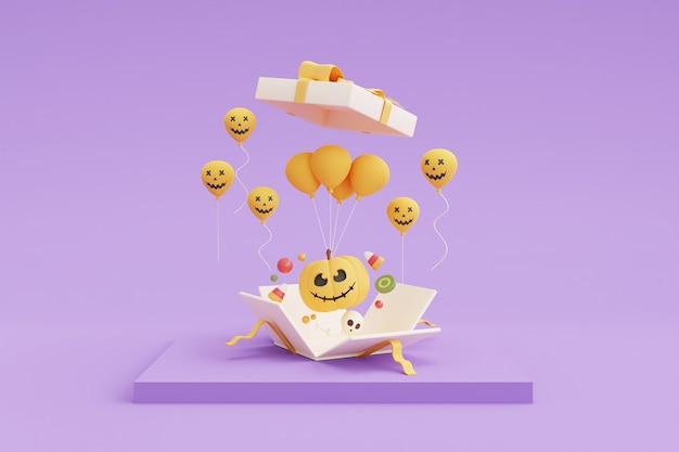 Concetto di halloween felice, confezione regalo 3d aperta con personaggi di zucca, palloncino e caramelle su sfondo viola. rendering 3d.