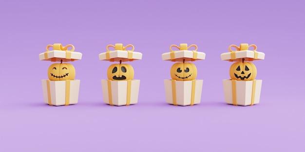Concetto di halloween felice, confezione regalo 3d aperta con caratteri di zucca su sfondo viola. rendering 3d.