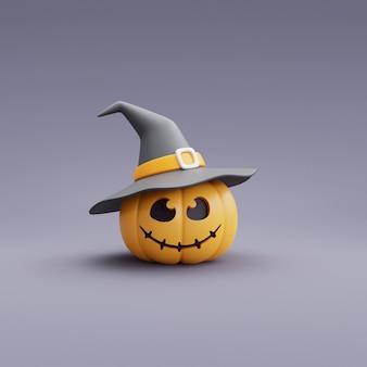 Concetto felice di halloween, carattere della zucca che porta il cappello della strega sul rendering grigio background.3d.