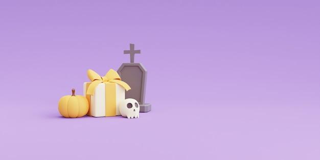 Concetto di halloween felice, zucche, osso, confezione regalo, pietra tombale con copia spazio su sfondo viola. rendering 3d.