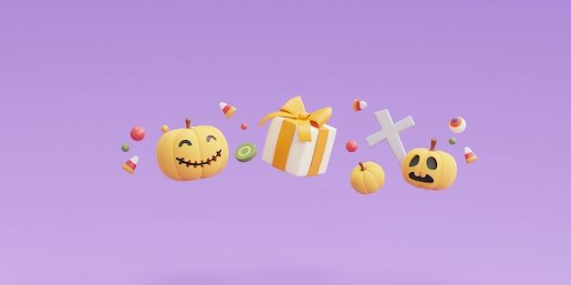 Concetto di halloween felice, personaggio delle zucche, confezione regalo, caramelle, osso, teschio su sfondo viola. rendering 3d.