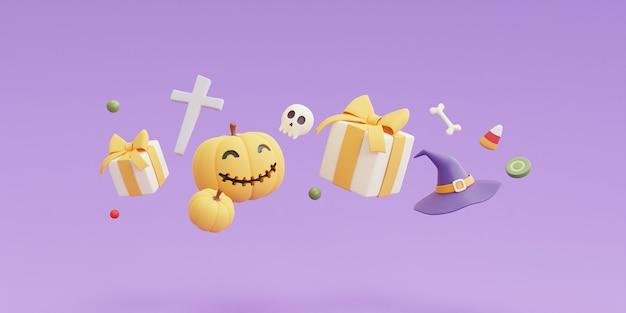Concetto di halloween felice, personaggio delle zucche, confezione regalo, caramelle, cappello da strega, osso, teschio su sfondo viola. rendering 3d.
