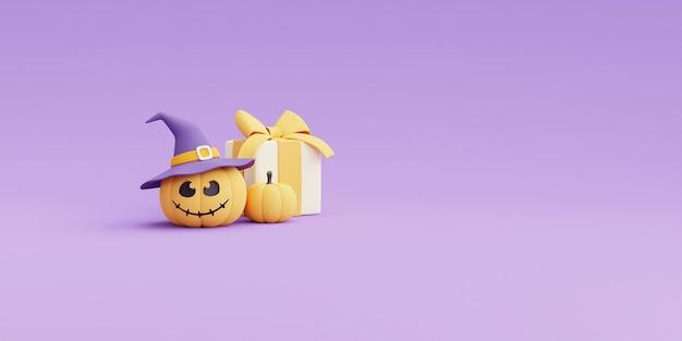 Concetto di halloween felice, carattere di zucche e confezione regalo con spazio di copia su sfondo viola. rendering 3d.