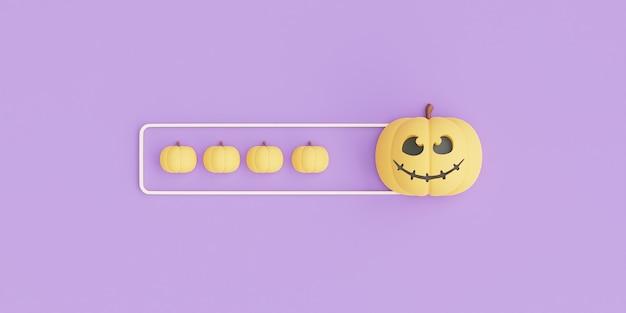 Felice halloween concetto, carattere di zucche su viola background.3d rendering.