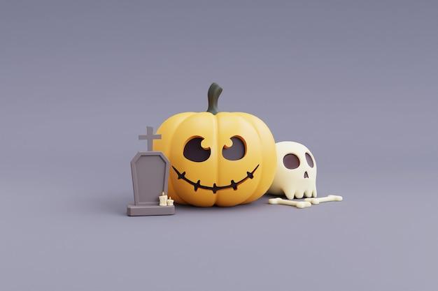 Felice halloween concetto, carattere di zucche, teschio, osso, bara.on grigio background.3d rendering.
