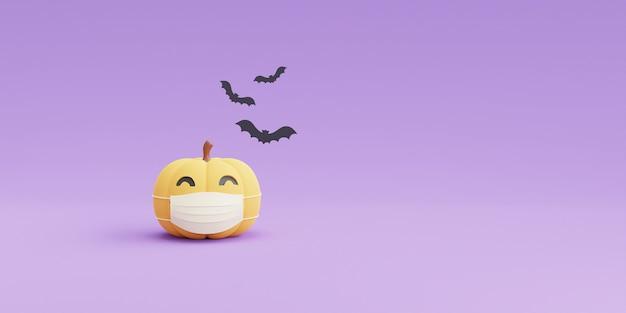 Concetto di halloween felice, personaggio delle zucche che indossa una maschera bianca con spazio di copia su sfondo viola. rendering 3d.