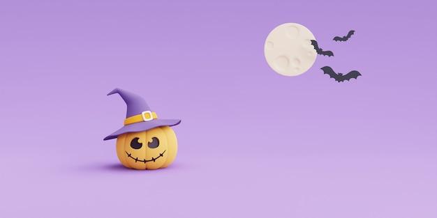Felice concetto di halloween, personaggio delle zucche che indossa un cappello da strega al chiaro di luna. sul rendering viola background.3d.