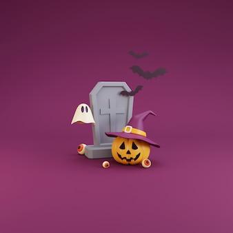 Concetto di halloween felice, personaggio delle zucche che indossa cappello da strega, pietre tombali, bulbo oculare, fantasma, bat.on viola background.3d rendering.