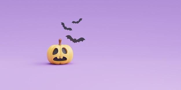 Felice concetto di halloween con carattere di zucche e pipistrello sul rendering viola background.3d.