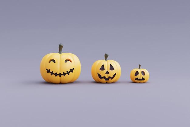 Felice halloween concetto con carattere di zucche su grigio background.3d rendering.