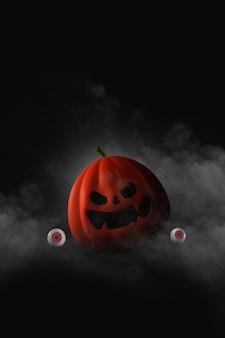 Happy halloween design con zucche su sfondo scuro
