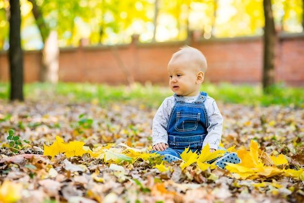 Felice, felice baby sitter nel parco con foglie gialle in autunno