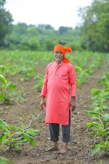 Felice agricoltore indiano in piedi e sorridere al campo