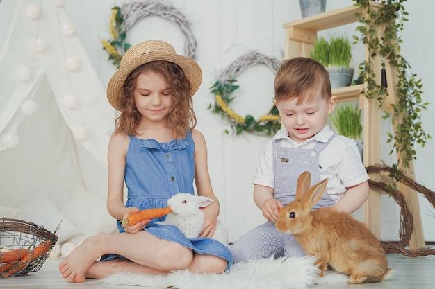 Bambina e ragazzo di risata felici che giocano con un coniglio del bambino