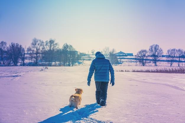 L'uomo felice con il cane labrador retriever cammina su un campo nevoso in inverno nella neve profonda di nuovo alla telecamera