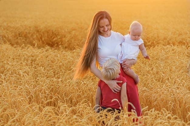 Madre felice con due bambini che camminano attraverso il campo di grano al tramonto.