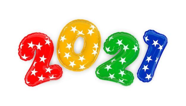 Felice anno nuovo 2021. palloncini multicolori realistici di sfondo. rendering 3d