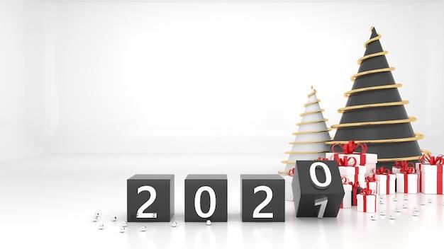 Felice anno nuovo 2021. concetto di cambiamento dal 2020 al 2021. confezione regalo albero di natale con numeri rendering 3d