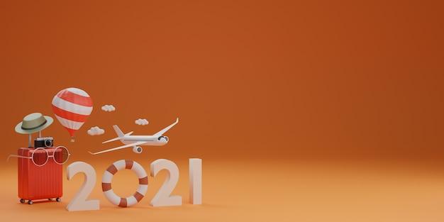 Felice anno nuovo 2021: anello di gomma da nuoto con aeroplano, valigia, cappello e occhiali da sole