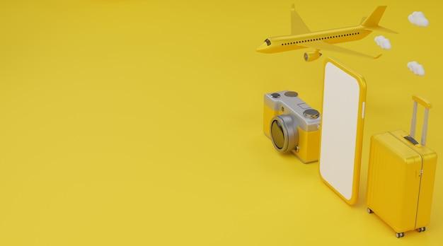 Felice anno nuovo 2021: mockup mobile con schermo bianco, aereo, bagagli e fotocamera