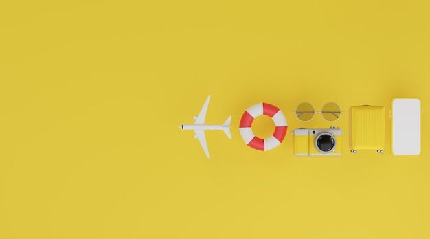 Felice anno nuovo 2021: mockup mobile con schermo bianco, anello in gomma per il nuoto, aereo, bagagli, fotocamera e occhiali da sole