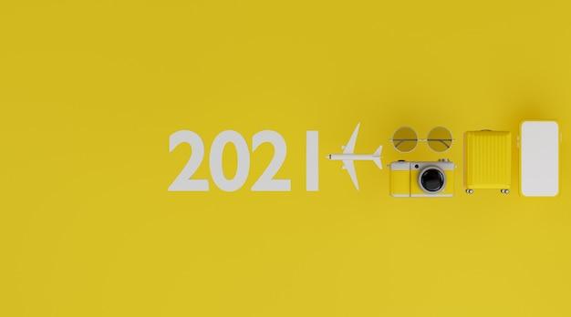 Felice anno nuovo 2021: mockup mobile con schermo bianco con aereo, fotocamera, bagagli e occhiali da sole