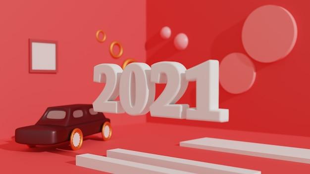 Felice anno nuovo 2021 con una macchina