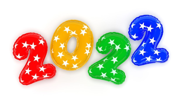 Felice anno nuovo 2022. palloncini multicolori realistici di sfondo. rendering 3d