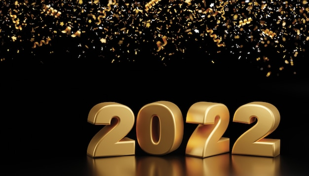 Felice anno nuovo 2022 e coriandoli di lamina che cadono su sfondo nero 3d render