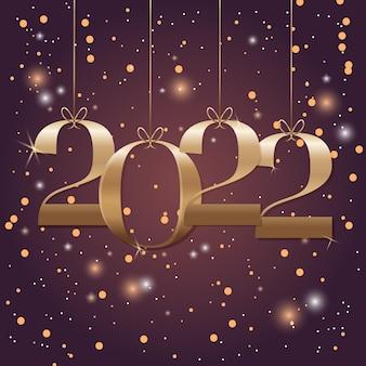 Felice anno nuovo 2022 con numeri d'oro e glitter sullo sfondo. design moderno per calendario, inviti, biglietti di auguri, volantini di feste o stampe.