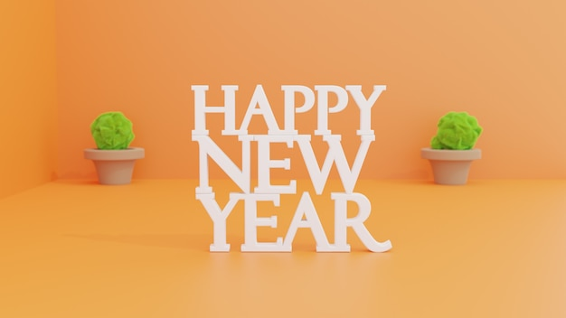 Felice anno nuovo 3d Foto Premium