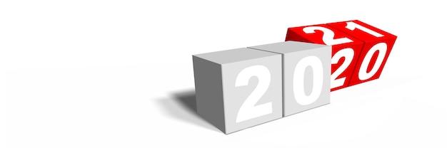 Felice anno nuovo sfondo. inizia nel 2021. illustrazione 3d
