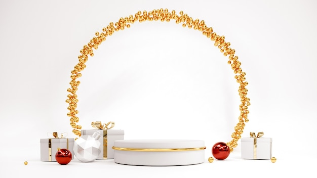 Felice anno nuovo sfondo con podio albero di natale e regali