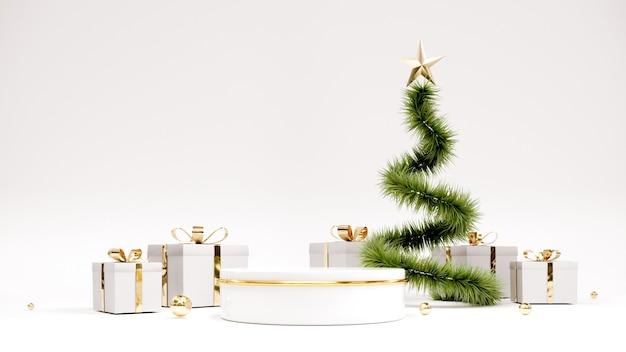 Felice anno nuovo sfondo con podio e albero di natale