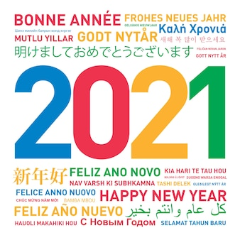 Carta di felice anno nuovo dal mondo in diverse lingue e colori
