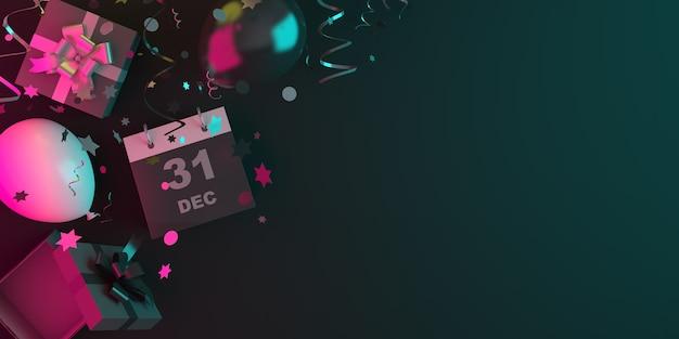 Felice anno nuovo decorazione con calendario, palloncini, confezione regalo