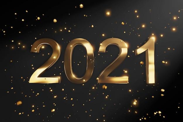 Felice anno nuovo. numeri metallici d'oro
