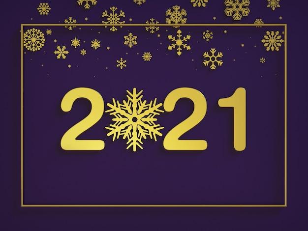 Felice anno nuovo, grandi numeri in oro con decorazione dorata a fiocco di neve con cornice, vista dall'alto
