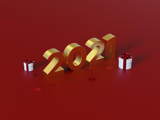 Felice anno nuovo, grandi numeri 3d dorati, su sfondo rosso, con decorazioni natalizie.