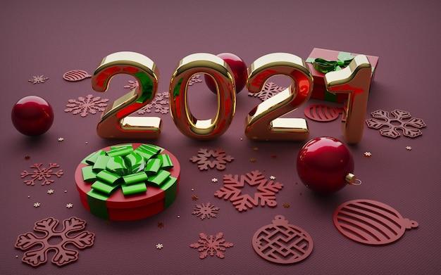 Felice anno nuovo, grandi numeri 3d dorati arrotondati, su sfondo rosso, con decorazioni natalizie.