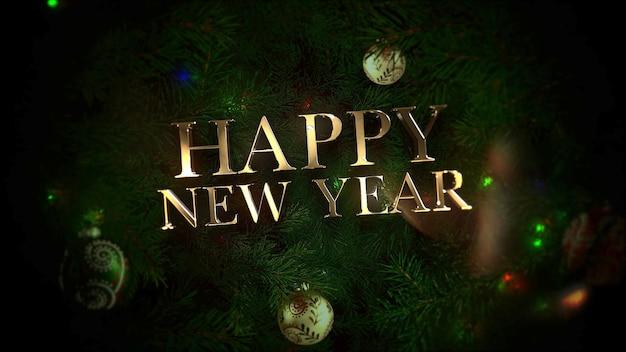Testo di felice anno nuovo, palline colorate e rami di alberi verdi