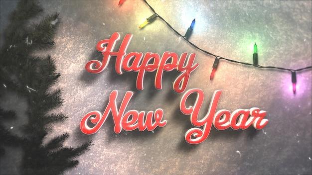 Testo di felice anno nuovo, ghirlanda colorata e rami di albero di natale verde. illustrazione 3d di lusso ed elegante stile dinamico per le vacanze invernali