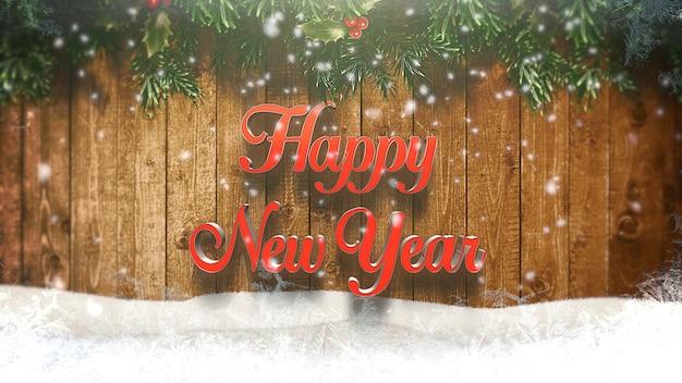 Testo del buon anno, fiocchi di neve bianchi e fondo di legno. illustrazione 3d di lusso ed elegante stile dinamico per le vacanze invernali