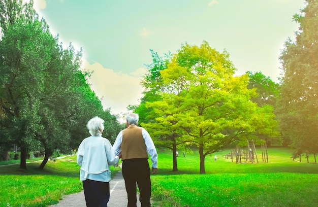 Felice vecchiaia coppia senior storia d'amore. la gente sta camminando nel parco verde. nonna e nonno che si tengono per mano. stile di vita delle persone anziane.