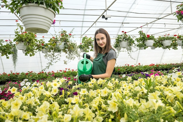 Felice proprietario di una fattoria di fiori che innaffia e si prende cura dei fiori. duro lavoro quotidiano per il produttore di fiori in serra